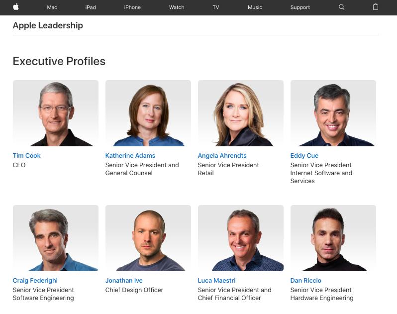 Current Leadership on Apple's Leadership Page